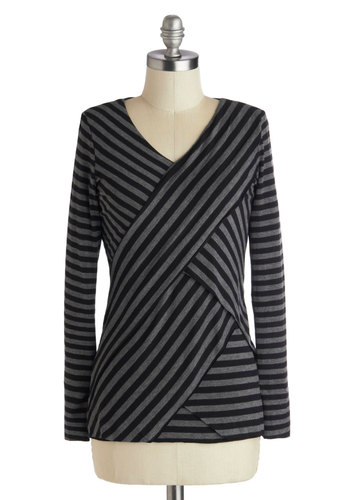 Unwind and Dine Top - Mid-length, Jersey, Multi, Black, Grey, Stripes, Casual, Long Sleeve, Work, Knit, V Neck, Grey, Long Sleeve