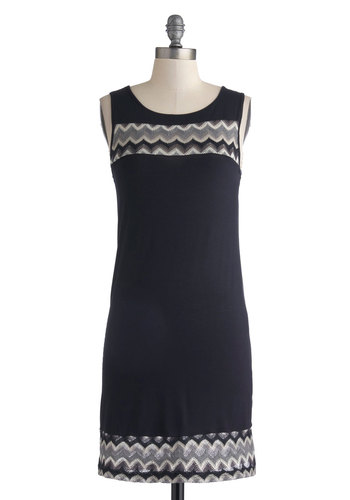 Mountainside Muse Dress - Blue, Chevron, Casual, Sheath / Shift, Tank top (2 thick straps), Good, Crew, Mid-length, Knit, Grey