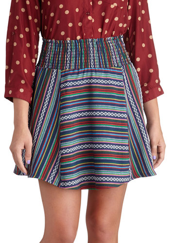 Sagebrush Serenity Skirt - Short, Multi, Stripes, Daytime Party, Boho, Fall, A-line, Multi, Woven
