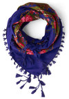 Refinement to Be Scarf - Blue, Floral, Tassles, Trim, Multi, Boho, Sheer, Woven, Press Placement