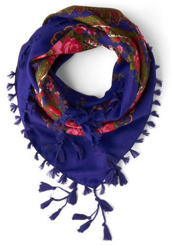 Refinement to Be Scarf - Blue, Floral, Tassels, Trim, Multi, Boho, Sheer, Woven, Press Placement