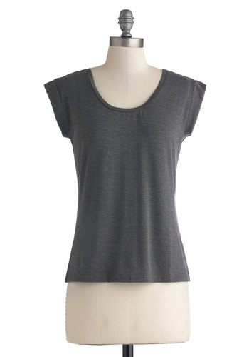 Less is More Top - Jersey, Knit, Mid-length, Grey, Solid, Casual, Travel, Minimal, Cap Sleeves, Basic, Scoop, Grey, Short Sleeve