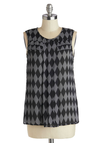 Grace of Diamonds Top - Mid-length, Chiffon, Sheer, Woven, Black, Grey, Print, Pleats, Work, Sleeveless, Scoop, Grey, Sleeveless