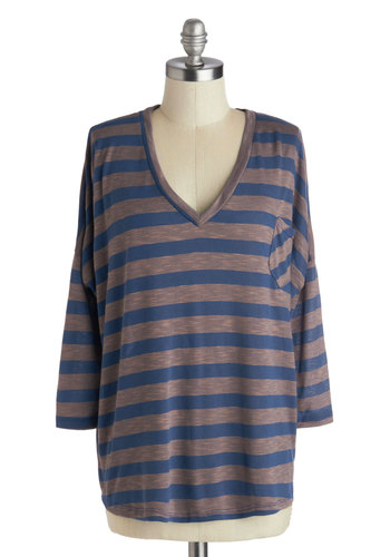 Bliss American Life Top - Blue, Grey, Stripes, Pockets, Casual, 3/4 Sleeve, Mid-length, Knit, V Neck