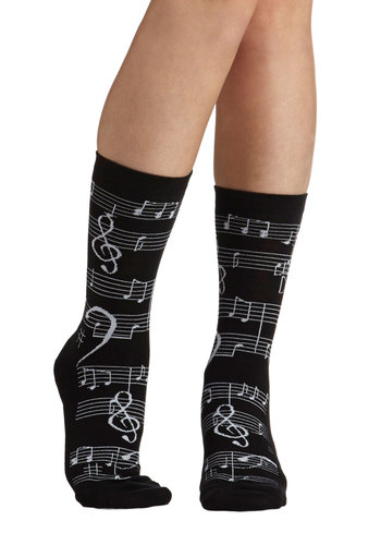 Note So Fast Socks - Black, White, Print, Casual, Good, Music