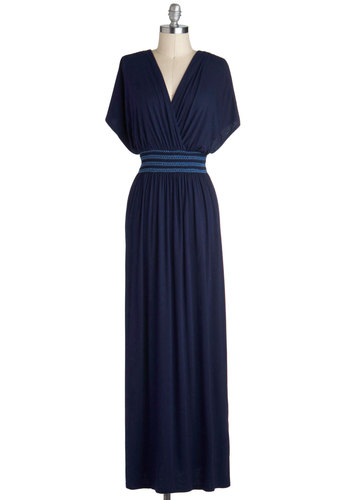 Rebecca to Basics Dress in Navy - Blue, Solid, Casual, Maxi, Short Sleeves, V Neck, Jersey, Knit, Good, Fall, Long