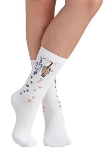 Feline Sassy Socks - White, Brown, Black, Print with Animals, Casual, Good, Cats