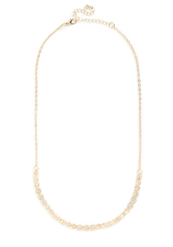 Save the Last Glance Necklace - Solid, Rhinestones, Gold, Formal