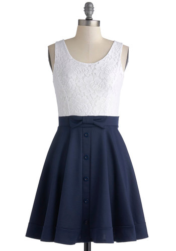 Town Festival Dress - Blue, Buttons, Bows, Lace, Sleeveless, White, Casual, Nautical, Americana, A-line, Good, Scoop, Short