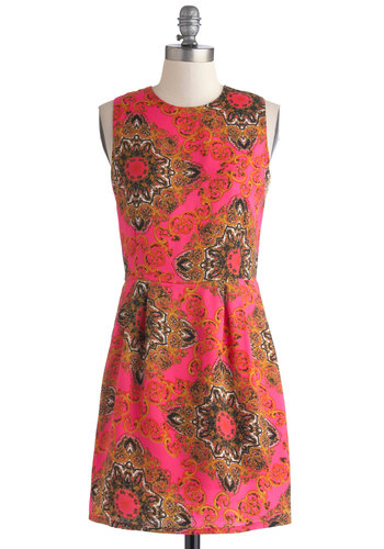 Twist of Ornate Dress by Jack by BB Dakota - Pink, Multi, Print, Party, Shift, Sleeveless, Good, Woven, Mid-length