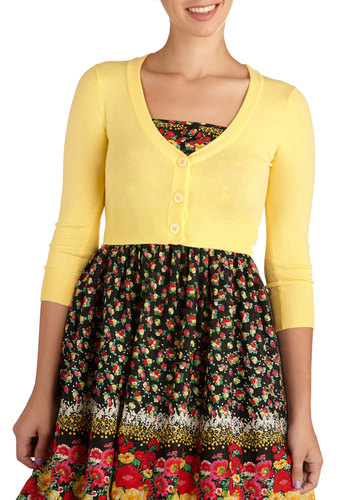 The Dream of the Crop Cardigan in Lemon - Short, Yellow, Solid, Work, Casual, Vintage Inspired, 50s, Long Sleeve, Best Seller