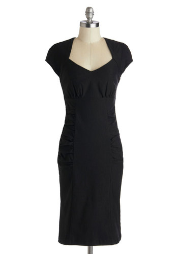 Piano Bar Chanteuse Dress - Woven, Black, Solid, Cutout, Party, Shift, Cap Sleeves, Better, LBD, Long