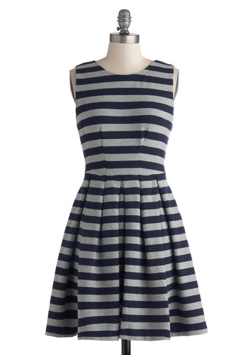 Wish Upon a Starboard Dress - Mid-length, Cotton, Knit, Blue, Grey, Stripes, Pleats, Pockets, Casual, A-line, Sleeveless, Better