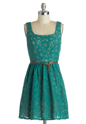 Lace to the City Dress - Green, Solid, Lace, Belted, Casual, A-line, Tank top (2 thick straps), Good