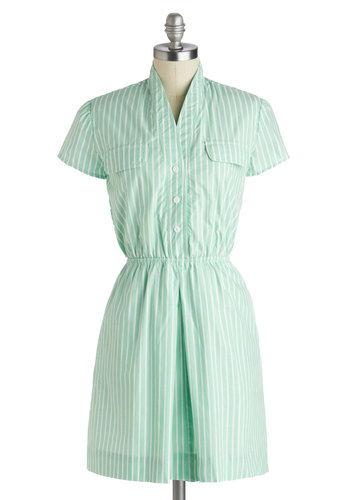 Notably Neighborly Dress by Myrtlewood - Short, Cotton, Mint, White, Stripes, Buttons, Pockets, Casual, Shirt Dress, Short Sleeves, Better, Vintage Inspired, Pastel, Summer, Woven, Exclusives, Private Label, Spring
