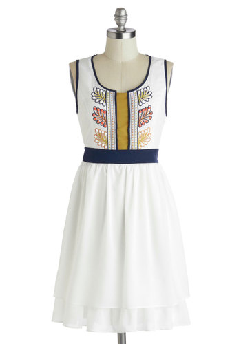Pastoral Perfect Dress by Ryu - Mid-length, White, Multi, Embroidery, Casual, A-line, Tank top (2 thick straps), Better, Scoop