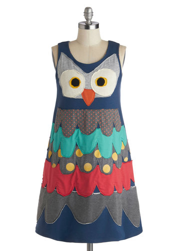 Owl in the Timing Dress by Heel Athens Lab - Mid-length, Blue, Multi, Print with Animals, Casual, Shift, Tank top (2 thick straps), Better, Scoop, Owls, Fall