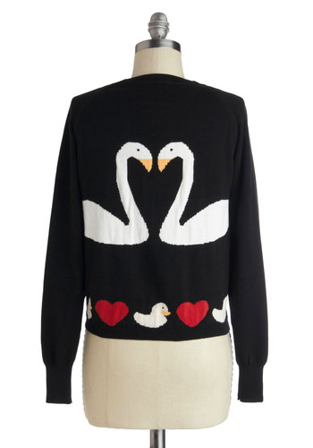 Swan Love Cardigan - Black, Red, White, Print with Animals, Buttons, Long Sleeve, V Neck, Cotton, Knit, Short, Novelty Print, Folk Art, Valentine's, Black, Long Sleeve