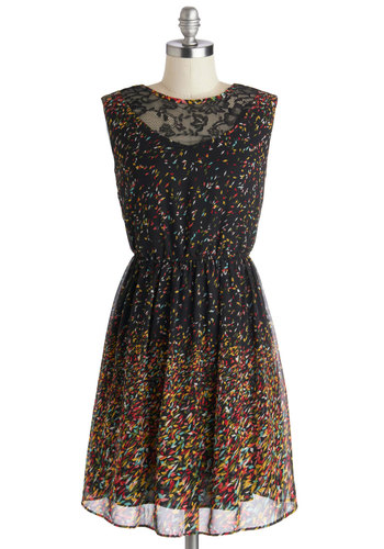 Confetti to Go Dress - Sheer, Mid-length, Black, Multi, Lace, Party, A-line, Sleeveless, Good, Print, Backless