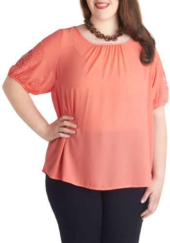 Coral Kind of Mood Top in Plus Size - Coral, Solid, Embroidery, Short Sleeves, Sheer, Scoop, Casual, Daytime Party, Woven, Exclusives