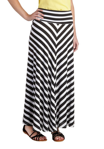 Haute Off the Presses Skirt - Long, Jersey, Stripes, Casual, Maxi, Beach/Resort, Knit, Black, White, Black, White