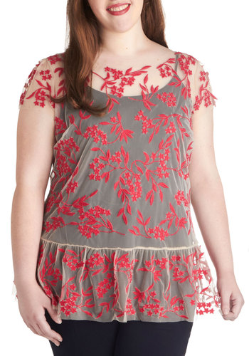 Q and Adorable Top in Plus Size - Sheer, Tan / Cream, Coral, Floral, Print, Embroidery, Daytime Party, Fairytale, Short Sleeves, Girls Night Out, Woven