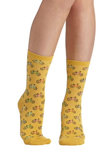 Cycling in the Sun Socks - Yellow, Multi, Novelty Print, Casual, Good