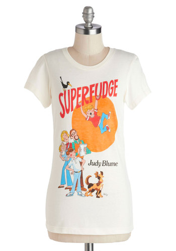 Novel Tee in Fudge by Out of Print - Cotton, Knit, Jersey, Cream, Red, Orange, Blue, Casual, Short Sleeves, Crew, Novelty Print, Scholastic/Collegiate, Variation, White, Short Sleeve, Mid-length