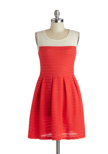 Cherry Jam Session Dress - Mid-length, Red, Tan / Cream, Beads, Pleats, Party, A-line, Sleeveless, Better, Scoop, Pearls