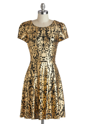 Best of the Beth Dress - Mid-length, Knit, Gold, Black, Print, Party, A-line, Short Sleeves, Better, Glitter, Holiday Party, Special Occasion