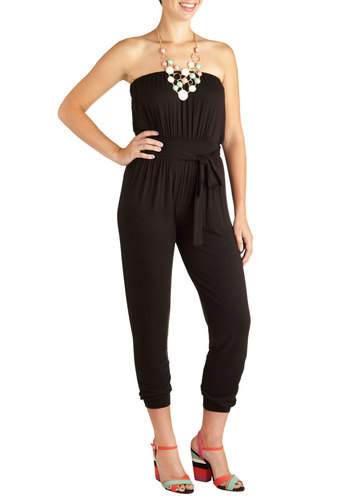Jumpsuit for Joy - Long, Black, Solid, Casual, Strapless, Belted, Party, Urban