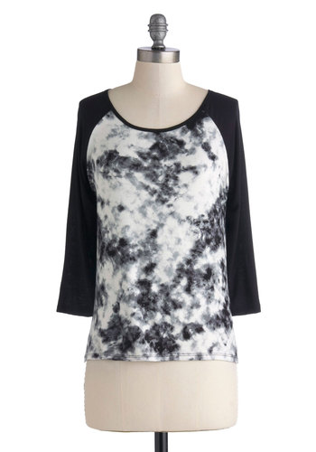 Blot to Have it Tee - Jersey, Knit, Black, White, Tie Dye, Casual, 3/4 Sleeve, Scoop, Mid-length, Black, 3/4 Sleeve
