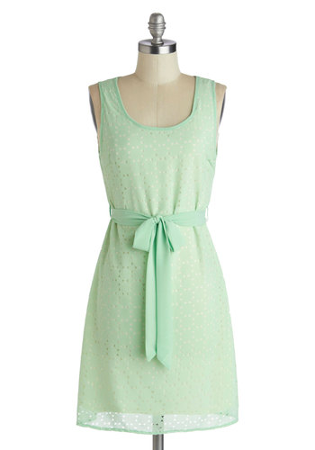 Sage the Date Dress - Mid-length, Mint, Solid, Belted, Party, A-line, Tank top (2 thick straps), Good, Scoop, Daytime Party, Pastel, Spring