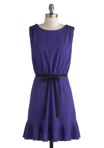 Plum Lovely Dress - Chiffon, Woven, Mid-length, Purple, Black, Buttons, Epaulets, Ruffles, Belted, Party, A-line, Sleeveless, Better