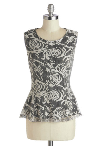 And I Feel Vine Top - Mid-length, Grey, White, Floral, Work, Peplum, Sleeveless, Scoop, Grey, Sleeveless