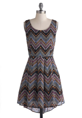 Downtown Dinner Date Dress - Mid-length, Multi, Chevron, Cutout, Casual, A-line, Tank top (2 thick straps), Good, Scoop