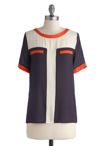 Haute Homeroom Top - Knit, Multi, Orange, Blue, Tan / Cream, Short Sleeves, Casual, Vintage Inspired, 60s, 70s, Colorblocking, Scoop, Scholastic/Collegiate, Blue, Short Sleeve