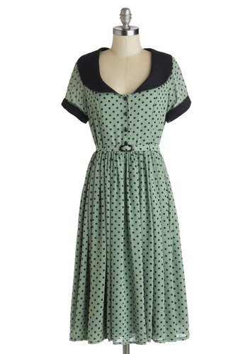 Meet Your Matcha Dress - Long, Sheer, Green, Black, Polka Dots, Buttons, Peter Pan Collar, Belted, Casual, A-line, Short Sleeves, Better, Collared, Vintage Inspired, 40s, 50s, Woven