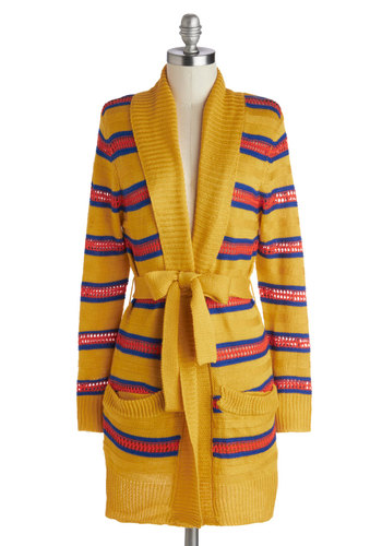 Knits a Mystery Cardigan by Tulle Clothing - Yellow, Red, Blue, Stripes, Belted, Casual, Scholastic/Collegiate, Long Sleeve, Sheer, Knit, Pockets, Fall, Yellow, Long Sleeve