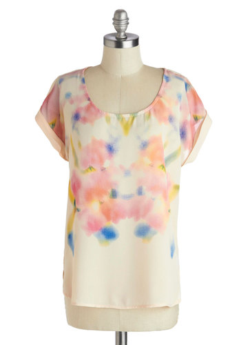 The Morning Through Mist Top - Multi, Yellow, Pink, White, Tie Dye, Short Sleeves, Chiffon, Sheer, Woven, Mid-length, Blue, Pastel