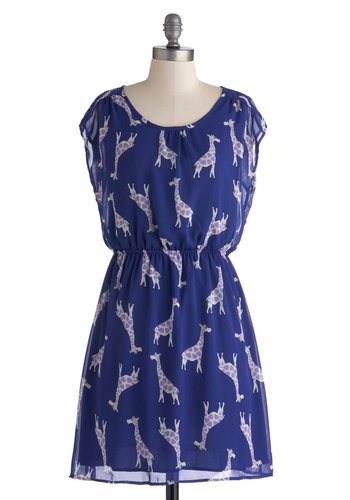 Ossicone and Only Dress - Print with Animals, Sheer, Mid-length, Chiffon, Blue, Purple, White, Casual, A-line, Cap Sleeves, Scoop, Top Rated