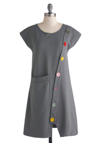 Smock Hop Dress by Heel Athens Lab - Mid-length, Knit, Grey, Buttons, Pockets, Casual, Sheath / Shift, Cap Sleeves, Better, Scoop, Multi, Solid, Fall