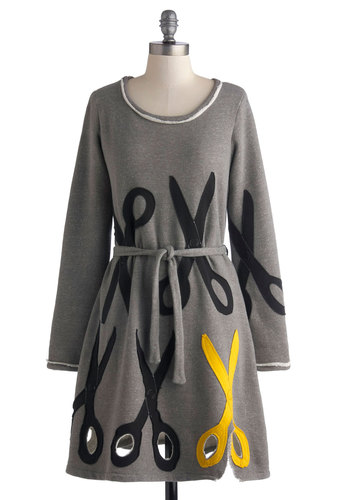 Shear Perfection Dress by Heel Athens Lab - Mid-length, Cotton, Knit, Grey, Yellow, Black, Novelty Print, Belted, Casual, Sheath / Shift, Long Sleeve, Better, Scoop, Fall, Statement, Winter