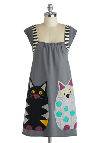 Tabby Road Dress by Heel Athens Lab - Mid-length, Grey, Multi, Print with Animals, Casual, Sheath / Shift, Cap Sleeves, Better, Cats, Statement