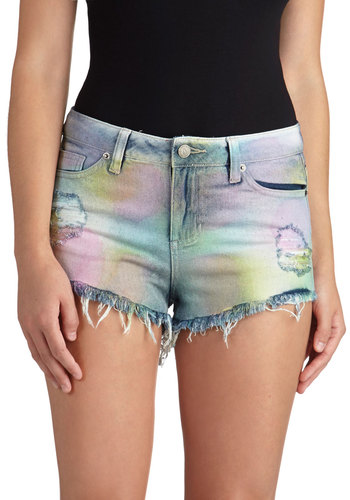 Belle of the Paintball Shorts - Cotton, Denim, Woven, Multi, Blue, Pink, Pockets, Casual, Short, Summer, Boho