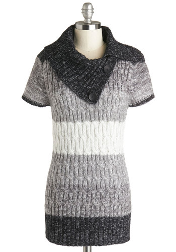 Storm and Cozy Sweater - Grey, White, Casual, Short Sleeves, Cowl, Stripes, Buttons, Better, Mid-length, Knit, Grey, Short Sleeve, Top Rated