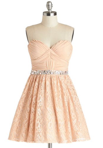 Gleeful Glamour Dress - Pink, Solid, Lace, Rhinestones, Ruching, Wedding, Cocktail, Bride, Fit & Flare, Strapless, Better, Sweetheart, Knit, Woven