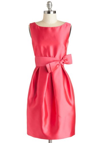 The Gift of Good Taste Dress - Pink, Solid, Bows, Wedding, Party, Bridesmaid, Sleeveless, Boat, Shift, Better, Satin, Woven, Pockets, Special Occasion, Prom, Valentine's