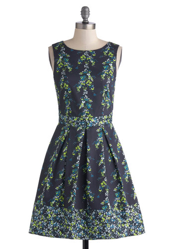 Teal Away Dress - Mid-length, Blue, Multi, Floral, Pleats, Party, Fit & Flare, Sleeveless, Better, Scoop, Gifts Sale