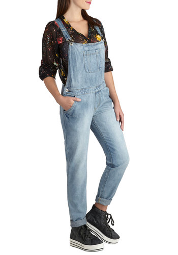 Mural I Need Overalls - Cotton, Denim, Boho, Blue, Casual, Solid, Pockets, 90s, Fall, Woven